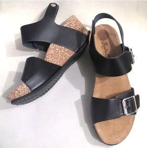 New! Sonia C Italian leather cork wedge sandals